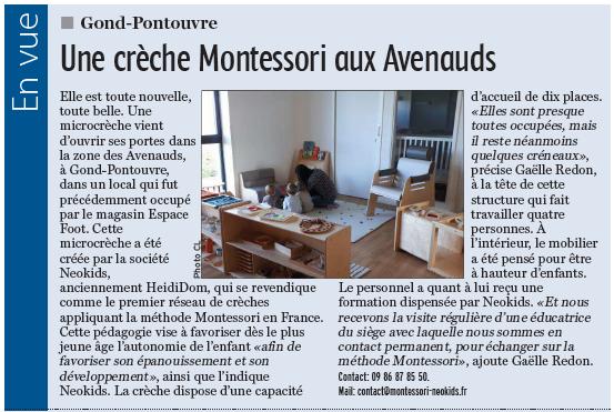Ouverture Gond-Pontouvre – Parution dans la Charente Libre